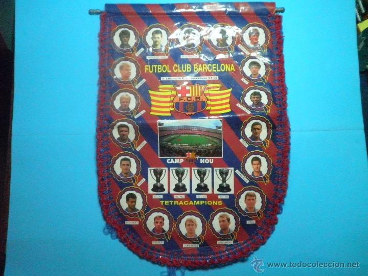 BANDERIN FUTBOL CLUB BARCELONA TETRACAMPIONS 94 - 95 (Coleccionismo Deportivo - Banderas y Banderines de Fútbol)