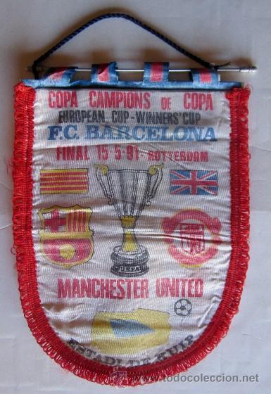 BANDERIN FINAL RECOPA DE EUROPA - FC. BARCELONA - MANCHESTER UNITED (Coleccionismo Deportivo - Banderas y Banderines de Fútbol)