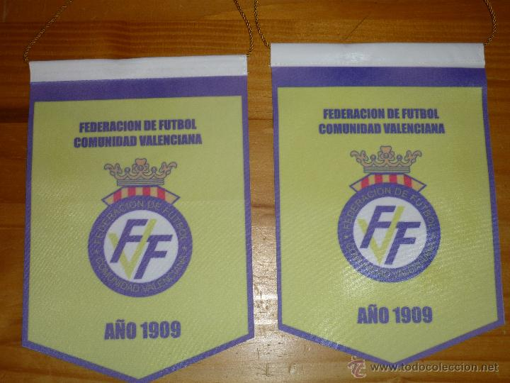 2 BANDERINES OFICIALES FEDERACION VALENCIANA DE FUTBOL (Coleccionismo Deportivo - Banderas y Banderines de Fútbol)