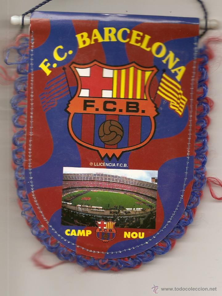 Coleccionismo deportivo: BANDERÍN DEL BARCELONA F.C., ESTADIO CAMP NOU- REVERSO IVAN DE LA PEÑA - Foto 2 - 42971887