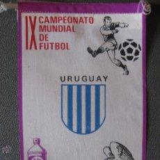 Coleccionismo deportivo: BANDERIN MUNDIAL MEXICO 70 - URUGUAY - PUBLICIDAD BIO BLANCOL. Lote 44054547
