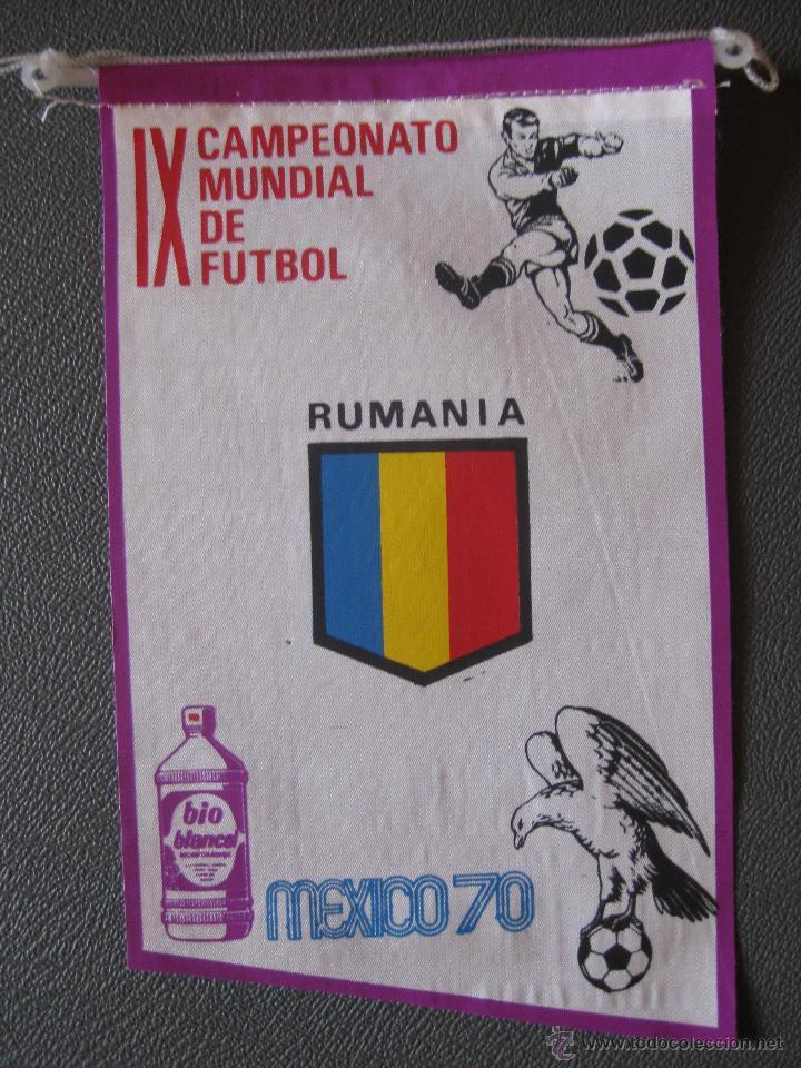 BANDERIN MUNDIAL MEXICO 70 - RUMANIA - PUBLICIDAD BIO BLANCOL (Coleccionismo Deportivo - Banderas y Banderines de Fútbol)