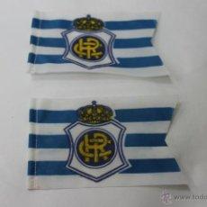 Coleccionismo deportivo: 2 BANDERINES ANTIGUOS CLUB REAL HUELVA FUTBOL. Lote 47704689