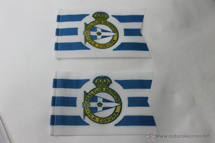 2 BANDERINES ANTIGUOS FUTBOL REAL CLUB DEPORTIVO LA CORUÑA (Coleccionismo Deportivo - Banderas y Banderines de Fútbol)