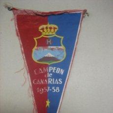 Coleccionismo deportivo: BANDERIN ANTIGUO R.U.T. CAMPEON DE CANARIAS 1957-58.- FUTBOL. Lote 47979482
