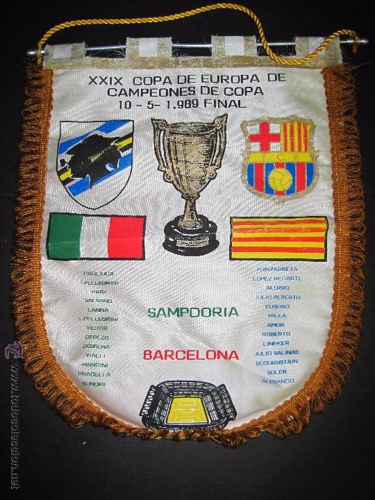 BANDERIN FINAL RECOPA DE EUROPA 1989 - F.C. BARCELONA - SAMPDORIA (Coleccionismo Deportivo - Banderas y Banderines de Fútbol)