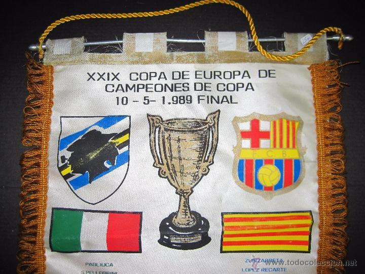 Coleccionismo deportivo: BANDERIN FINAL RECOPA DE EUROPA 1989 - F.C. BARCELONA - SAMPDORIA - Foto 2 - 48663386