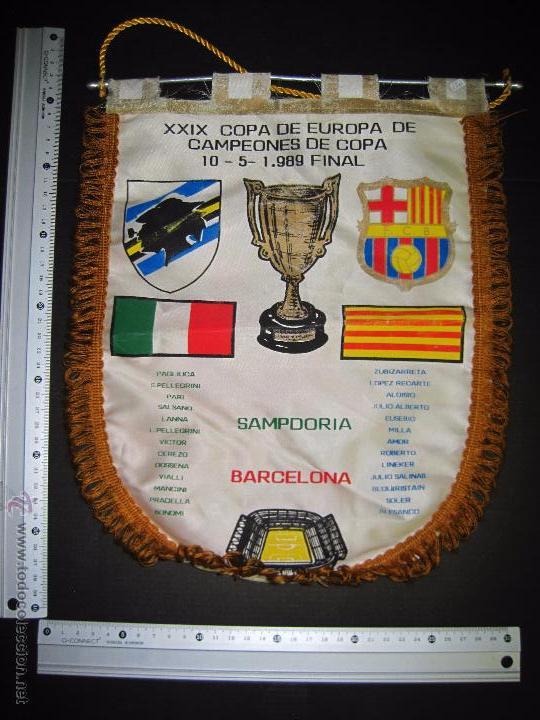 Coleccionismo deportivo: BANDERIN FINAL RECOPA DE EUROPA 1989 - F.C. BARCELONA - SAMPDORIA - Foto 5 - 48663386