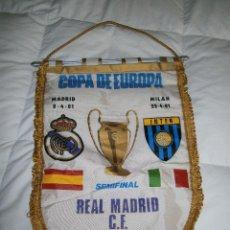Coleccionismo deportivo: BANDERÍN CONMEMORATIVO PARTIDO R. MADRID - INTER DE MILAN. - SEMIFINAL COPA DE EUROPA 1981.. Lote 48723464