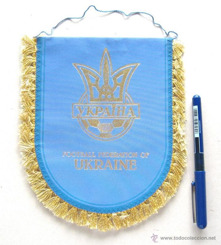 BANDERIN PENNANT UCRANIA UKRAINE FEDERACION FUTBOL ORIGINAL 20 X 17 CM BUEN ESTADO (Coleccionismo Deportivo - Banderas y Banderines de Fútbol)