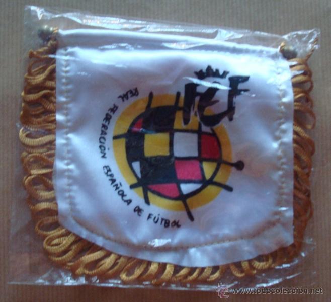 BANDERIN REAL FEDERACIÓN ESPAÑOLA DE FÚTBOL EN TELA (Coleccionismo Deportivo - Banderas y Banderines de Fútbol)
