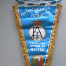 Coleccionismo deportivo: BANDERÍN DE FÚTBOL. 44 CM. SELECCIÓN JUVENIL DE MÁLAGA. FEDERACIÓN ANDALUZA. AÑOS 70 80. Lote 52376465