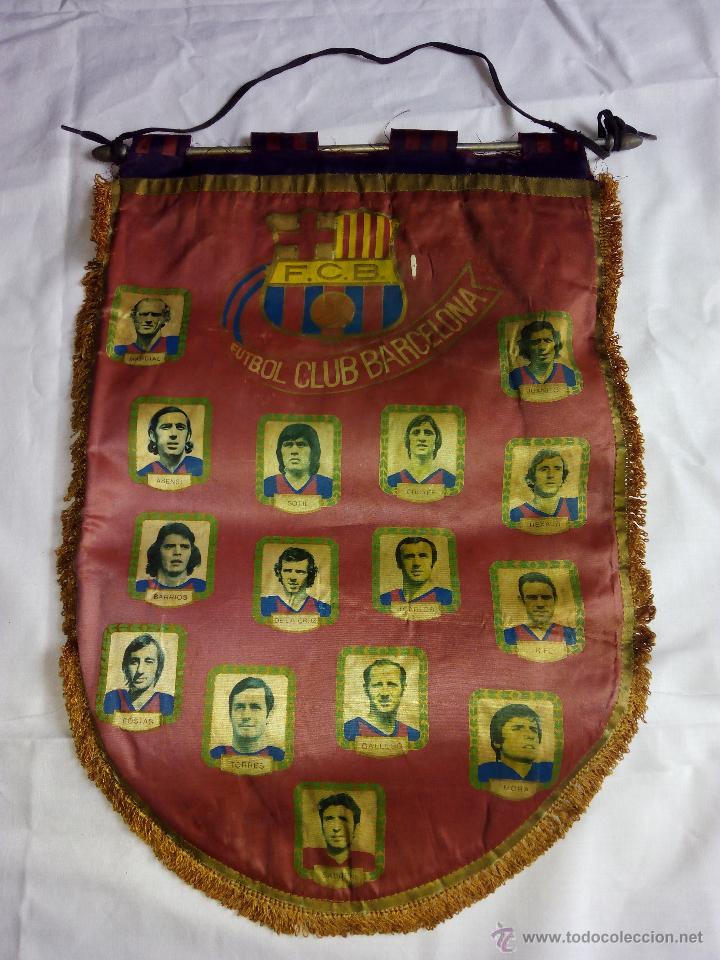 BANDERÍN FCB FÚTBOL CLUB BARCELONA HISTORIAL. ÉPOCA CRUYFF (Coleccionismo Deportivo - Banderas y Banderines de Fútbol)
