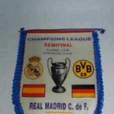 Coleccionismo deportivo: BANDERIN DE LA CHAMPIONS LEAGUE, SEMIFINAL, REAL MADRID - BORUSSIA DORTMUND, MADRID / DORTMUND 1998. Lote 52832284