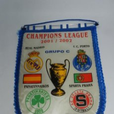 Coleccionismo deportivo: BANDERIN DE LA CHAMPIONS LEAGUE, REAL MADRID, F.C. PORTO, PANATINNAIKOS, SPARTA PRAHA - 2001/2002 - . Lote 52832541