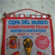 Coleccionismo deportivo: BANDERIN PARTIDO ESPAÑA-DINAMARCA.17/11/1993.. Lote 53281847