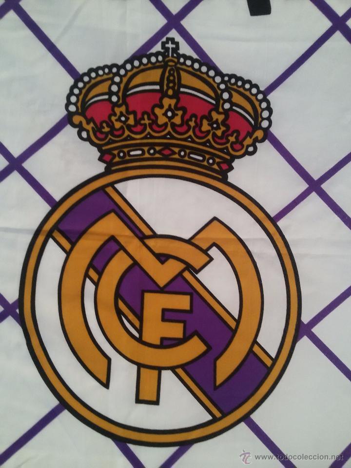 Coleccionismo deportivo: ESPECTACULAR BANDERA DEL REAL MADRID-136X95 CM - Foto 8 - 150836224