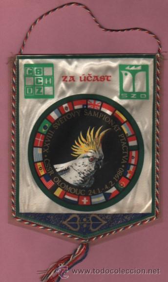 BANDERIN ZA UCAST XXVIII SVETOVY SAMPIONAT PTACTVA 1980 CSSR OLOMOUC (Coleccionismo Deportivo - Banderas y Banderines de Fútbol)