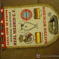 Coleccionismo deportivo: BANDERIN XXXII COPA DE EUROPA. SEMIFINAL. REAL MADRID BAYERN MUNCHEN. 1987. FUTBOL.. Lote 53851800