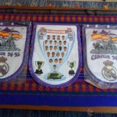 Coleccionismo deportivo: LOTE 3 BANDERÍN REAL MADRID 1994 1995 94 95 CAMPEÓN Y 1995 1996 95 96. GRAN TAMAÑO. RAROS. BE.. Lote 54229680