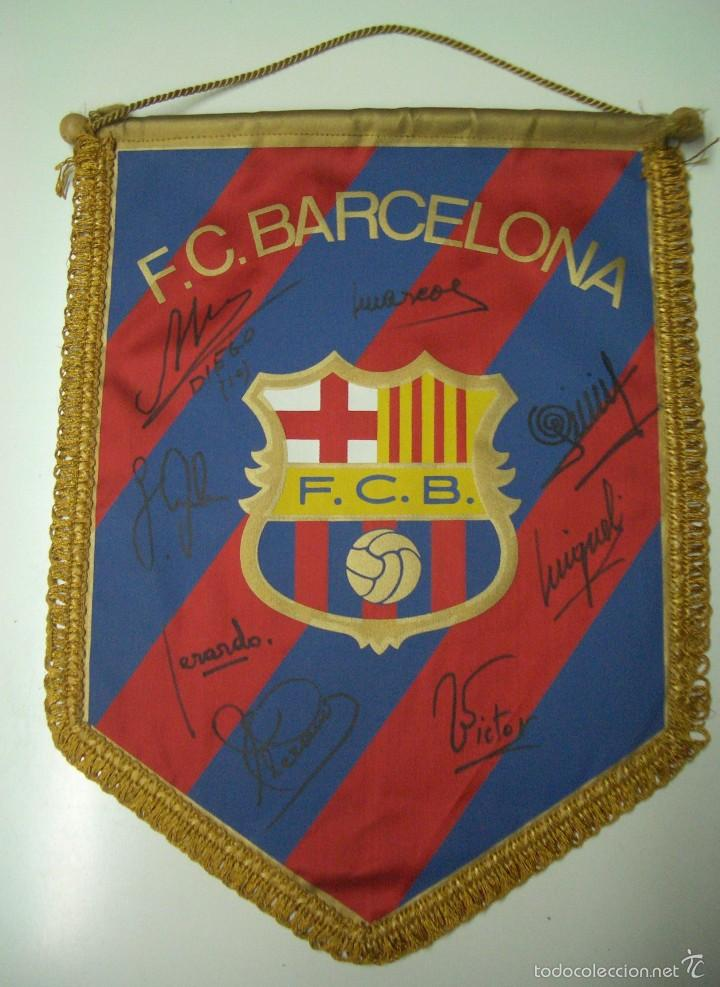 banderin del f.c.barcelona con 8 autografos .(m - Comprar Banderas y ...