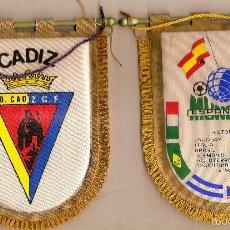 Coleccionismo deportivo: CADIZ - A.D FUTBOL BANDERIN Y EN EL REVERSO LAS BANDERAS DEL MUNDIAL ESPAÑA 82, CON REVERSO UN PO. Lote 56179282