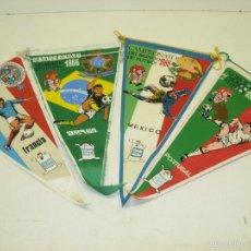 Coleccionismo deportivo: LOTE 4 BANDERINES,BANDERÍN CAMPEONATO DEL MUNDO DE FUTBOL MUNDIAL 1966 OBSEQUIO GIOR,BRASIL,MEXICO... Lote 57361744