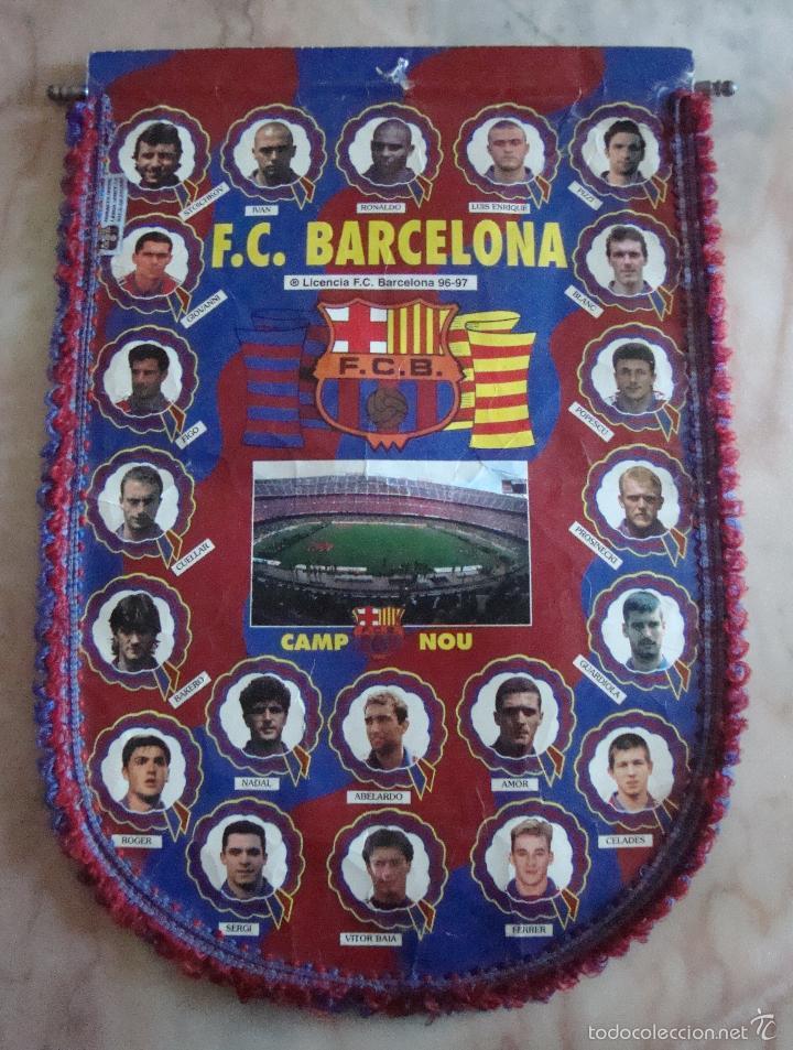 (TC-3) BANDERIN F. C. BARCELONA 96 97 (Coleccionismo Deportivo - Banderas y Banderines de Fútbol)