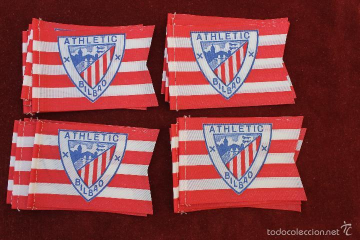 LOTE 20 BANDERINES ANTIGUOS PARA BICICLETA, ATLETI DE BILBAO, AÑOS 70 (Coleccionismo Deportivo - Banderas y Banderines de Fútbol)