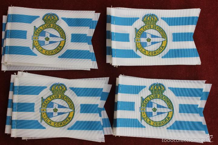 LOTE 20 BANDERINES ANTIGUOS PARA BICICLETA, REAL CLUB DEPORTIVO LA CORUÑA, AÑOS 70 (Coleccionismo Deportivo - Banderas y Banderines de Fútbol)