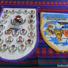 Coleccionismo deportivo: BANDERÍN REAL MADRID 1995 1996 Y FINAL CHAMPIONS LEAGUE AÑO 2000 VS VALENCIA C.F. RAROS. Lote 61819700
