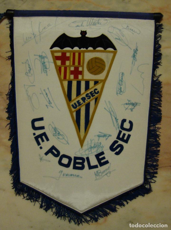 (TC-10) ANTIGUO BANDERIN U. E. POBLE SEC CON LA FIRMA DE LOS JUGADORES (Coleccionismo Deportivo - Banderas y Banderines de Fútbol)