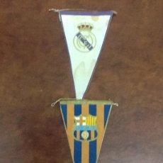 Coleccionismo deportivo: 2 ANTIGUOS BANDERINES FÚTBOL CLUB BARCELONA Y REAL MADRID F.C. Lote 66949730