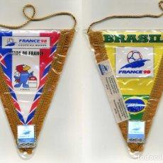 Coleccionismo deportivo: 2 BANDERINES MUNDIAL FRANCE 98. CAMPEON Y SUBCAMPEON. 18X15CM. PRODUCTO LICENCIADO. VER FOTOS. Lote 78206517