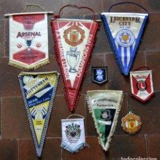 Coleccionismo deportivo: LOTE DE 9 BANDERINES FUTBOL INGLES AÑOS 80 - 90 / 45CM INGLATERRA / ARSENAL / MANCHESTER / TOTTENHAM. Lote 106135847