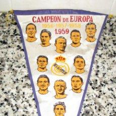 Coleccionismo deportivo: BANDERIN ORIGINAL REAL MADRID CAMPEÓN DE EUROPA 1959.1958.1957.1956.. Lote 87570224