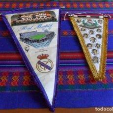 Coleccionismo deportivo: BANDERÍN TELA REAL MADRID 70 ANIVERSARIO 1972 CON PALMARÉS 54X36 CMS. REGALO 1974 1975. BE. RARO.. Lote 88973896
