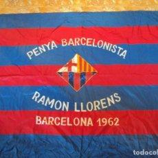 Coleccionismo deportivo: (F-171056)EXTRAORDINARIA BANDERA BORDADA PENYA BARCELONISTA RAMON LLORENS - BARCELONA 1962. Lote 100295715