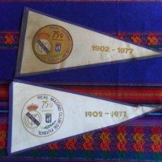 Coleccionismo deportivo: LOTE 2 BANDERÍN DISTINTO REAL MADRID 75 ANIVERSARIO 1902-1977. REGALO UNO DE 1980 CON HISTORIAL.. Lote 81003592