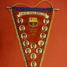 Coleccionismo deportivo: CF BARCELONA. CAMPIONAT DE COPA 1971. BANDERÍN ORIGINAL. 50 CTMS. DE LARGO. Lote 114428151