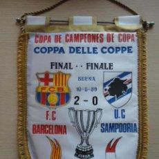 Coleccionismo deportivo: BANDERIN FINAL RECOPA 1989 BERNA FC BARCELONA SAMPDORIA CAMPEONES DE COPA. Lote 115545819