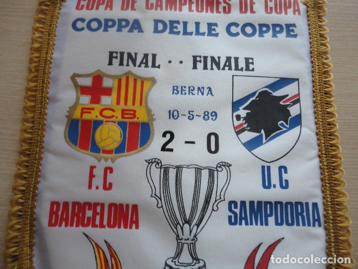 Coleccionismo deportivo: BANDERIN FINAL RECOPA 1989 BERNA FC BARCELONA SAMPDORIA CAMPEONES DE COPA - Foto 2 - 115545819