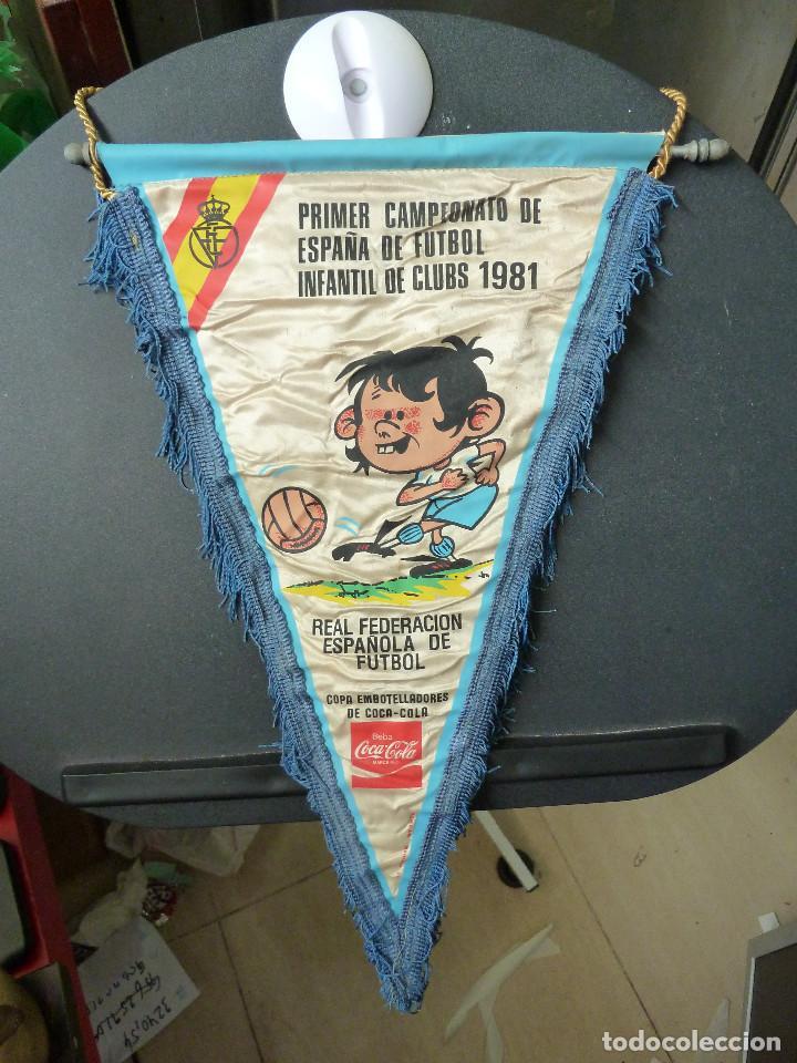 BANDERIN PRIMER CAMPEONATO DE ESPAÑA DE FUTBOL INFANTIL DE CLUBS 1981 (Coleccionismo Deportivo - Banderas y Banderines de Fútbol)