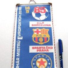 Coleccionismo deportivo: BANDERIN PENNANT FC BARCELONA VS SPARTA PRAHA PRAGA 14-9-1985 CZECH REPUBLIC. Lote 116068163