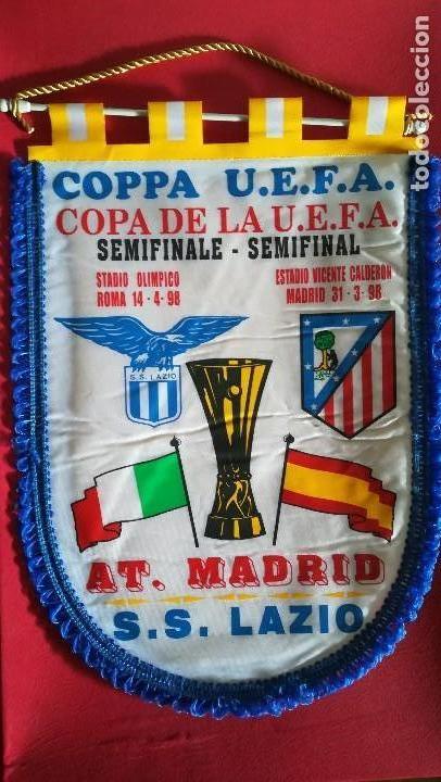 BANDERIN COPA UEFA ATLETICO DE MADRID AT MADRID LAZIO SEMIFINALES 1997 1998 (Coleccionismo Deportivo - Banderas y Banderines de Fútbol)