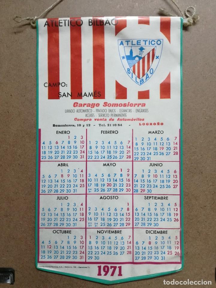 ANTIGUO CALENDARIO - BANDERIN DE FUTBOL DEL ATHLETIC CLUB DE BILBAO, AÑO 1971.GARAGE DE LOGROÑO (Coleccionismo Deportivo - Banderas y Banderines de Fútbol)