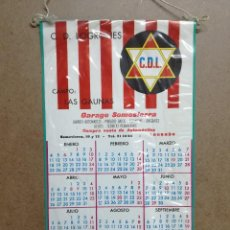 Coleccionismo deportivo: ANTIGUO CALENDARIO - BANDERIN DE FUTBOL CLUB DEPORTIVO LOGROÑES, AÑO 1971.GARAGE SOMOSIER DE LOGROÑO. Lote 122763799