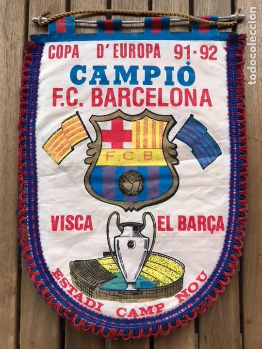BANDERÍN COPA EUROPA 91-92 FC BARCELONA ESTADI CAMP NOU (Coleccionismo Deportivo - Banderas y Banderines de Fútbol)