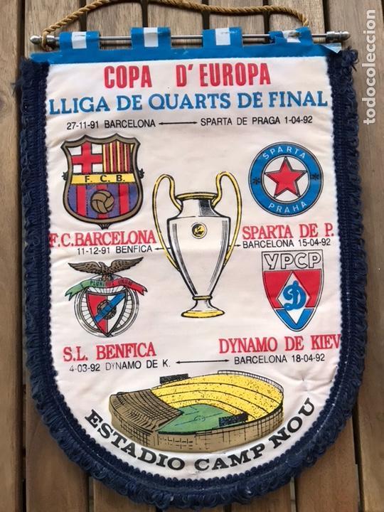 BANDERÍN COPA DE EUROPA BARCELONA SPARTA BENFICA DYNAMO DE KIEV 1991 1992 (Coleccionismo Deportivo - Banderas y Banderines de Fútbol)