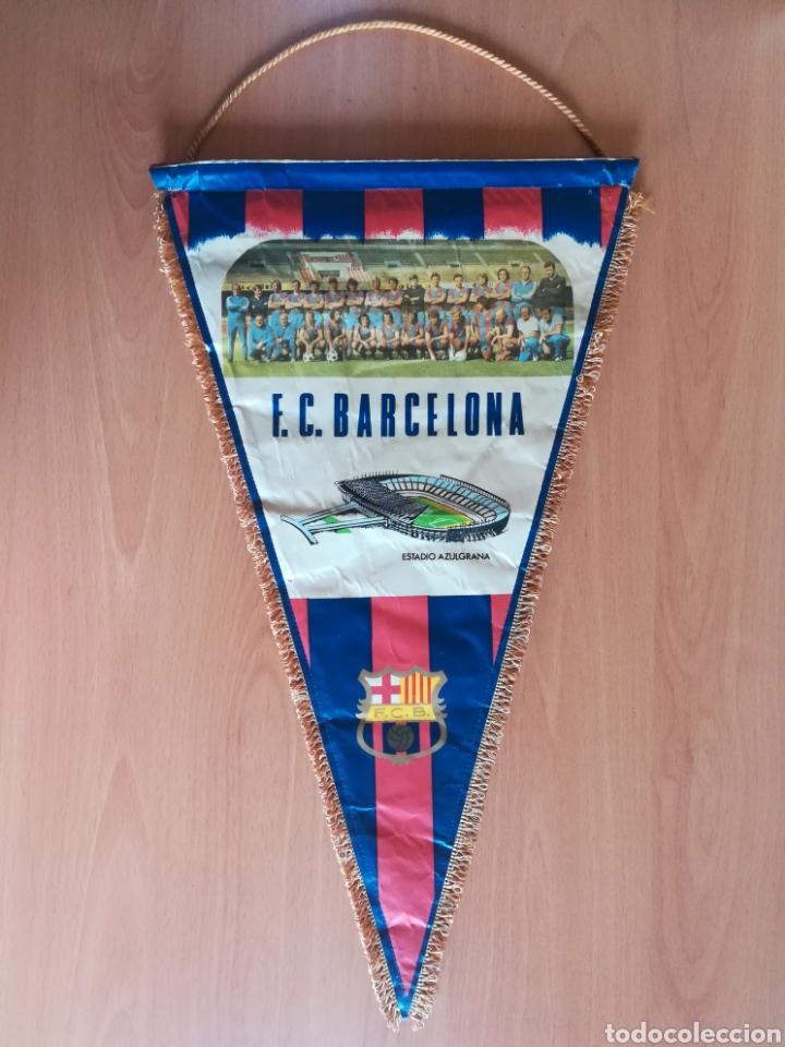 BANDERIN GRANDE FC BARCELONA ESTADIO CAMP NOU PEQUEÑO HISTORIAL - CRUYFF - FÚTBOL BARÇA CULÉ (Coleccionismo Deportivo - Banderas y Banderines de Fútbol)